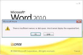 Word error message